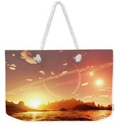 A Scene On A Distant Moon Orbiting Weekender Tote Bag