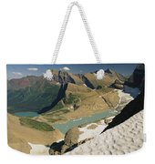 A Scenic View Of Lakes In Glacier Weekender Tote Bag