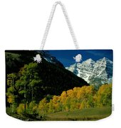 A Scenic View Of Yellow And Green Trees Weekender Tote Bag