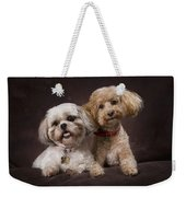 A Shihtzu And A Poodle On A Brown Weekender Tote Bag