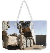 A Shipping Container Is Off-loaded Weekender Tote Bag