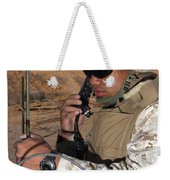 A Single-channel Radio Operator Works Weekender Tote Bag by Stocktrek Images