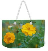 A Small Dragon Fly Sitting On A Yellow Flower Weekender Tote Bag