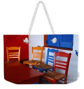 Colorful Table And Chairs Greece Weekender Tote Bag