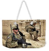A Soldier Calls In Description Weekender Tote Bag