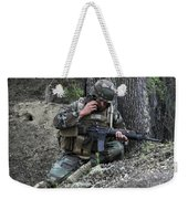 A Soldier Communicates His Position Weekender Tote Bag