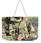 A Soldier Inputs The Firing Data Weekender Tote Bag