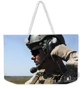 A Soldier Keeps In Radio Contact Weekender Tote Bag by Stocktrek Images