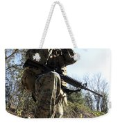 A Soldier Looking Through Binoculars Weekender Tote Bag