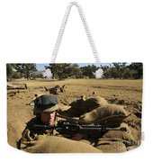 A Soldier Mans His Position At Fort Weekender Tote Bag