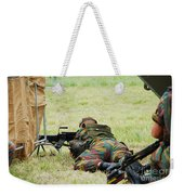 A Soldier Of The Belgian Army On Guard Weekender Tote Bag by Luc De Jaeger