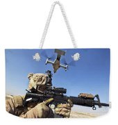 A Soldier Provides Security As An Mv-22 Weekender Tote Bag