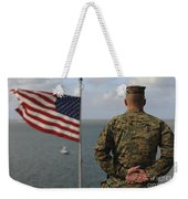 A Soldier Stands At Attention On Uss Weekender Tote Bag
