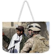 A Soldier Talks To A Local Villager Weekender Tote Bag