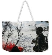 A Soldier Uses Red Smoke To Signal Weekender Tote Bag