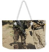 A Spanish Marine Points Out An Weekender Tote Bag