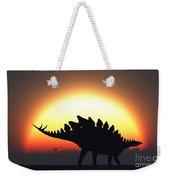 A Stegosaurus Silhouetted Weekender Tote Bag