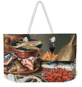 A Still Life Of A Fish Trout And Baby Lobsters Weekender Tote Bag