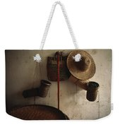 A Straw Hat, Straw Baskets And A Belt Weekender Tote Bag
