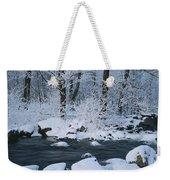A Stream Running Through Snowy Woodland Weekender Tote Bag