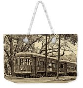 A Streetcar Named St. Charles Sepia Weekender Tote Bag