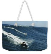 A Surfer And Jet-skier Off The North Weekender Tote Bag