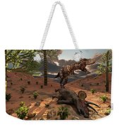 A T-rex Comes Across The Carcass Weekender Tote Bag