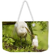 A Tender Moment - Great Egret And Chick Weekender Tote Bag
