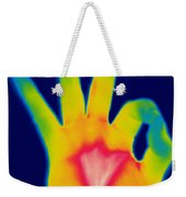 A Thermogram Of A Hand Giving The Ok Weekender Tote Bag by Ted Kinsman