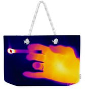 A Thermogram Of A Lit Cigarette Weekender Tote Bag by Ted Kinsman