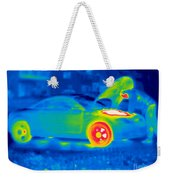A Thermogram Of A Man Working On A Car Weekender Tote Bag