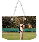 A Tourist Using A High Powered Camera Inside The Red Court In New Delhi Weekender Tote Bag