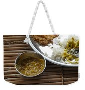 A Typical Plate Of Indian Rajasthani Food On A Bamboo Table Weekender Tote Bag