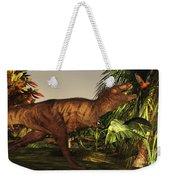 A Tyrannosaurus Rex Runs Weekender Tote Bag by Corey Ford