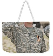 A U.s Army Soldier And Recipient Weekender Tote Bag