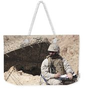 A U.s. Marine Communicates With Close Weekender Tote Bag