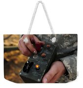 A U.s. Soldier Hits The Button Weekender Tote Bag by Stocktrek Images