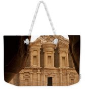 A View Of The Monastary In Petra Weekender Tote Bag