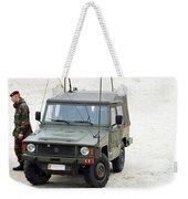 A Vw Iltis Jeep Of A Unit Of Belgian Weekender Tote Bag by Luc De Jaeger
