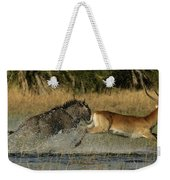 A Wildebeest And A Red Lechwe Leap Weekender Tote Bag