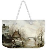 A Winter Landscape With Figures Skating Weekender Tote Bag by Dutch School