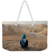 A Woman Sits Quietly On A Cliff Looking Weekender Tote Bag
