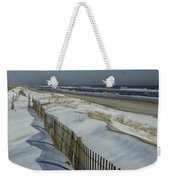 A Wooden Fence Casts A Shadow Weekender Tote Bag