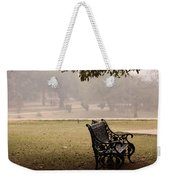 A Wrought Iron Black Metal Bench Under A Tree In The Qutub Minar Compound Weekender Tote Bag