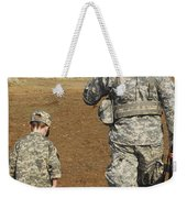 A Young Boy Joins His Squad Leader Weekender Tote Bag