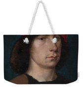 A Young Man In A Red Cap Weekender Tote Bag by Michiel Sittow