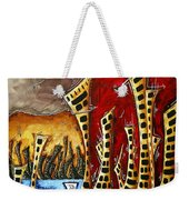 Abstract Art Contemporary Coastal Cityscape 3 Of 3 Capturing The Heart Of The City II By Madart Weekender Tote Bag