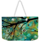 Abstract Art Original Landscape Painting Colorful Circles Morning Blues II By Madart Weekender Tote Bag