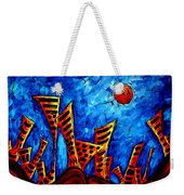 Abstract Cityscape Art Original City Painting The Lost City II By Madart Weekender Tote Bag