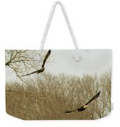 Adult And Immature Bald Eagle Flying Weekender Tote Bag